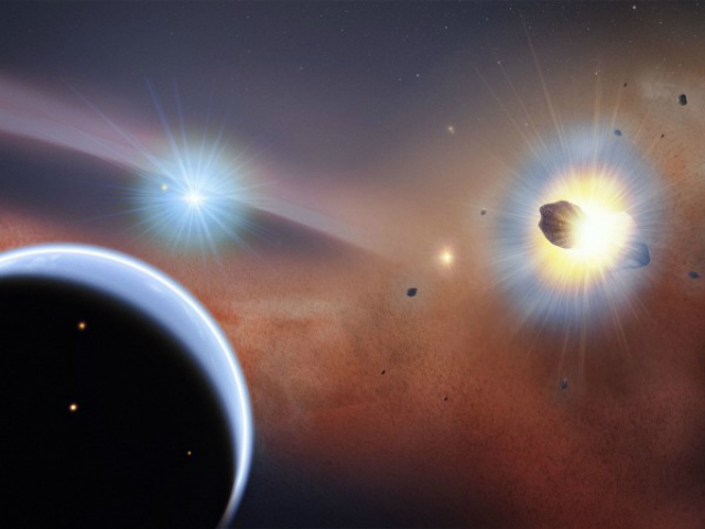 Массивное скопление комет (справа) у звезды Бета Живописца (иллюстрация NASA Goddard Space Flight Center/F. Reddy).