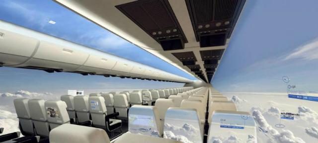 Изображение может быть расположено не только на стенах и потолке кабины, но и на спинках впереди стоящих сидений (иллюстрация Centre for Process Innovation).