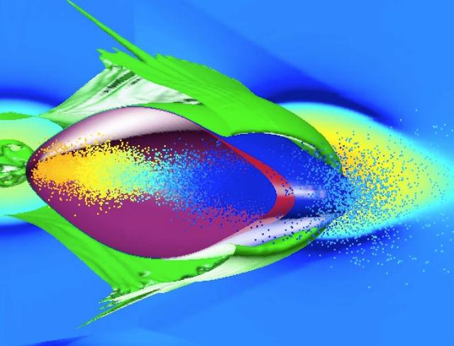 Иллюстрация демонстрирует прохождение двух электронных сгустков через облако ионизированного газа, то есть плазмы (иллюстрация SLAC National Accelerator Laboratory).