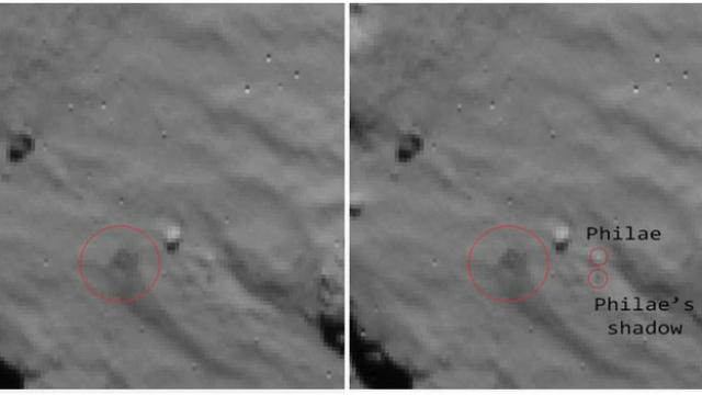 """Фотография посадки: на первом снимке видно облако пыли, поднятое при прикомечивании, а на втором – """"Филы"""" и его тень (фото ESA)."""