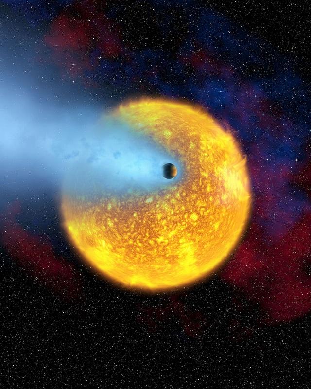 Экзопланета HD 209458b и её родительская звезда в представлении художника (иллюстрация NASA).