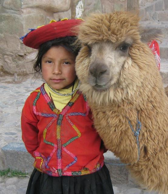 Перуанская девочка со своей альпакой недалеко от Пласа-де-Армас в Куско (фото Donkeet/Wikimedia Сommons).