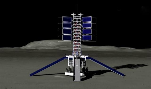 Известны и некоторые детали будущего проекта: так, лунный подъёмник будет оборудован пандусами для небольших роверов (иллюстрация LiftPort).