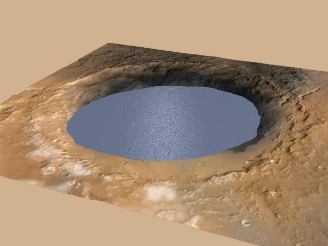 Иллюстрация показывает кратер Гейла, частично заполненный водой, в который с северного края стекают талые воды (иллюстрация NASA/JPL-Caltech/ESA/DLR/FU Berlin/MSSS).