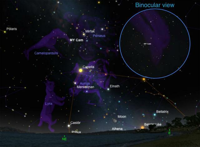 Мелькающую бинарную систему MY Camelopardalis можно увидеть невооружённым глазом на северном небе (иллюстрация Javier Lorenzo/Universidad de Alicante).