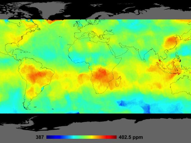 Карта распределения углекислого газа в атмосфере Земли (NASA/JPL-Caltech).