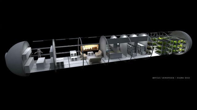 Внутреннее устройство корабля миссии Mars One в представлении художника (иллюстрация Bryan Versteeg/Mars One).