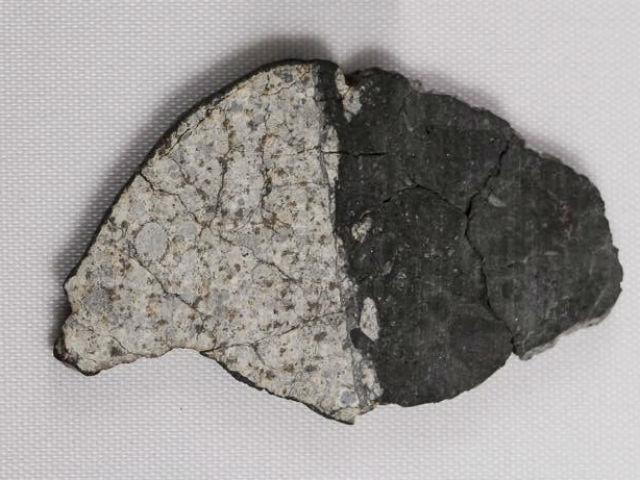 """Фрагмент метеорита """"Челябинск"""", демонстрирующий границу между расплавленной частью (тёмная) и лёгкой хондритовой структурой (светлая). Возраст расплавленной части примерно совпадает с возрастом формирования Луны (фото Vishnu Reddy, Planetary Science Institute)."""
