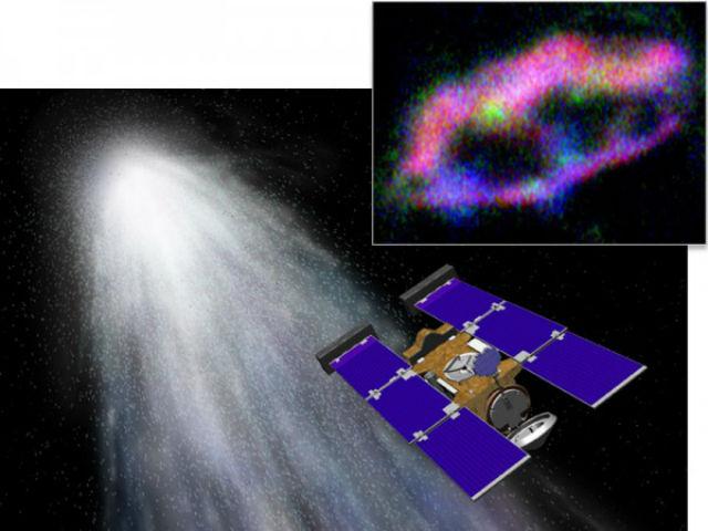 Межзвёздные частицы пыли проходили сквозь панели аэрогеля, где и оставляли свой химический след (иллюстрация NASA/Anna Butterworth/Advanced Light Source, Lawrence Berkeley National Laboratory).