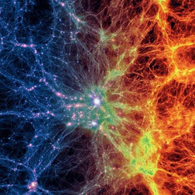 Модель охватывает историю пространства-времени с момента 12 миллионов лет после Большого взрыва (иллюстрация Illustris Collaboration).