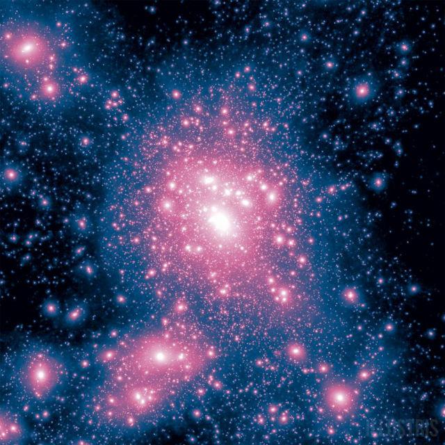 По подсчётам учёных, с первого момента, который описывает Illustris, и до сегодняшнего дня в отдельно взятом участке пространства сформировалось более 41 тысячи галактик (иллюстрация Illustris Collaboration).