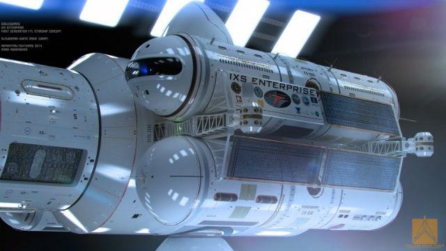 При движении сквозь пространство-время корабль будет находиться внутри пузыря Алькубьерре (иллюстрация Mark Rademaker).
