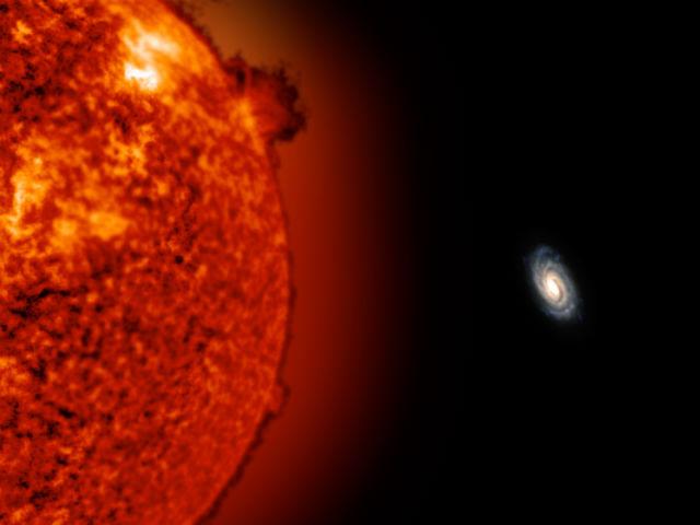 Красный гигант у Млечного Пути в представлении художника (иллюстрация John Bochanski/SOHO).