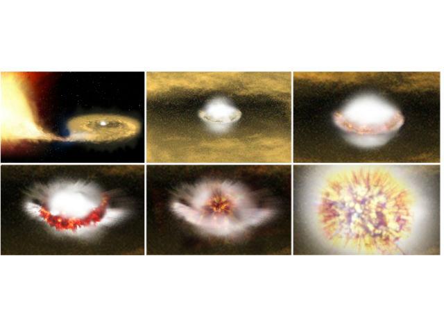 Астрономы считают, что белые карлики могут получать материю от соседних звёзд. После того как их масса вырастает до 1,44 массы Солнца, происходит термоядерный взрыв (иллюстрация ESA/ATG medialab).